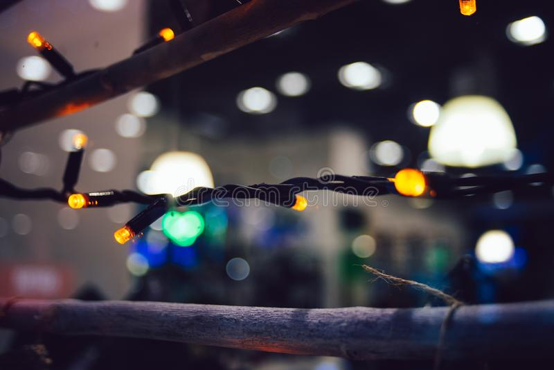 Led christmas illumination. With bright warm colors stock photo