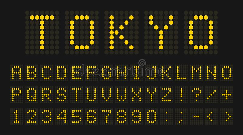 Led digital font, letters and numbers. English alphabet in digital screen style. Led digital board concept for airport. Sport matches, billboards and royalty free illustration