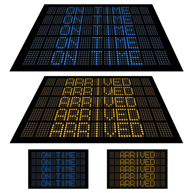 Download LED Display - Set 2 - On Time And Arrived Stock Vector - Image: 14326196