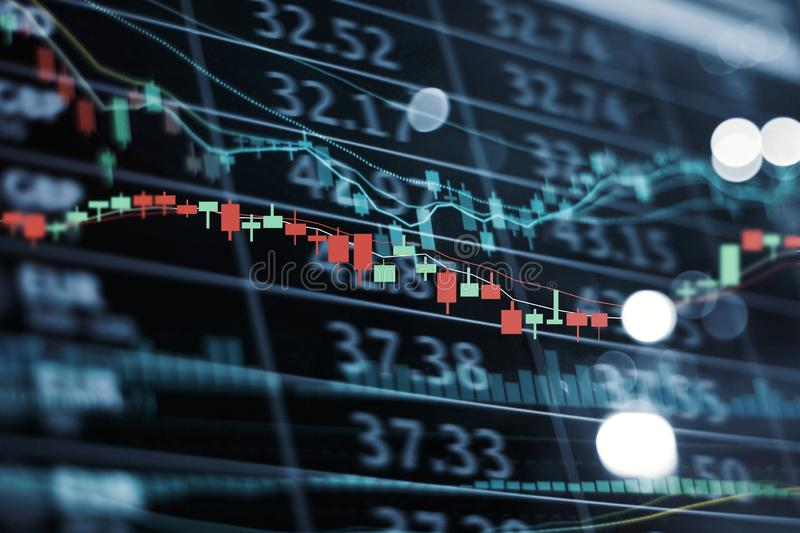 LED display stock market numbers and graph Stock market chart and data stock photos