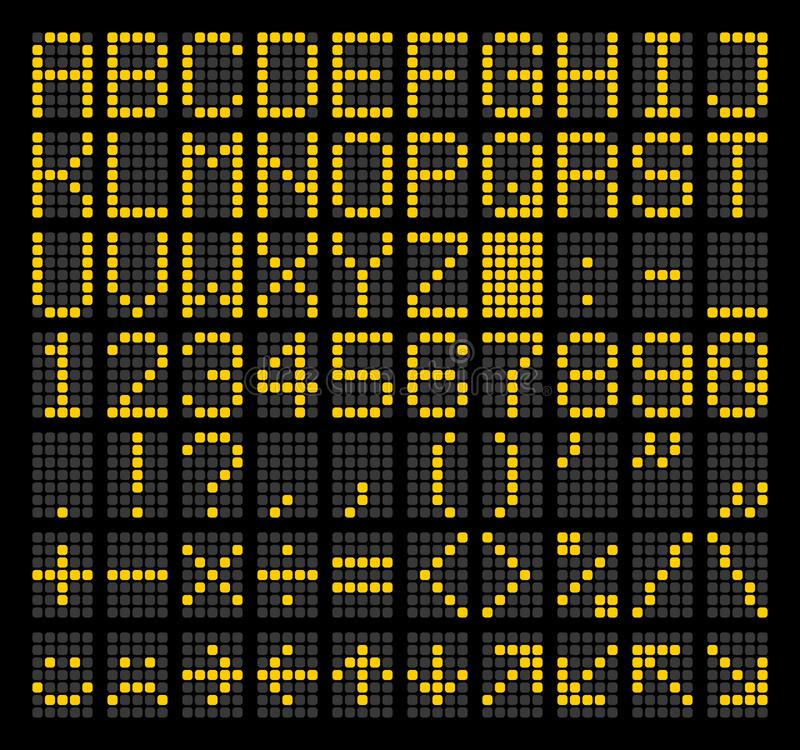 LED Dot Matrix Panel. Letters, numbers, punctuation marks, arithmetic signs, basic emoticons and navigation arrows royalty free illustration