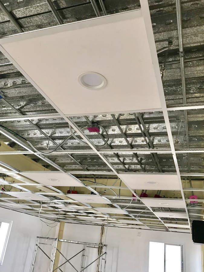 LED Downlight Installed on White T-Bar Ceiling stock photo