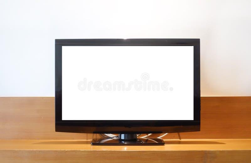 LED en blanco TV en la TV fotos de archivo