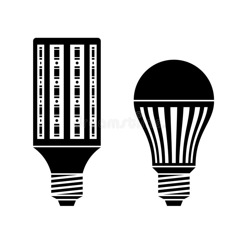 led energy saving lamp bulb symbols stock photos
