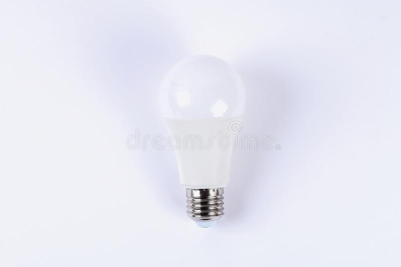 LED. Energy super saving electric lamp. New technology light bulb white background. LED. Energy super saving electric lamp. New technology light bulb on white stock images