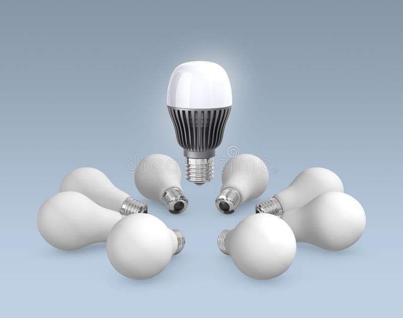 LED and filaments light bulbs vector illustration