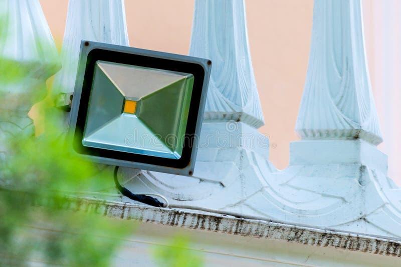 LED flood light, spotlight on wall royalty free stock photo