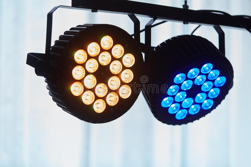 LED forstage professional lighting device colored. Led lights for disco. royalty free stock image