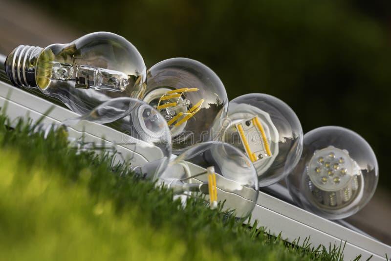 LED-, Halogen- und Wolframbirnen auf Sonnenkollektor, einige auf den gras stockfotografie