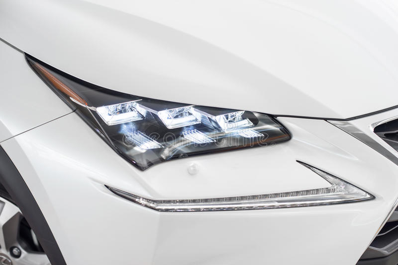 Led head light. On a Japanese sport utility vehicle royalty free stock image