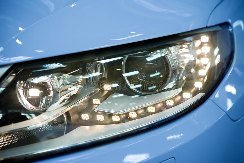 Led headlight of car royalty free stock images