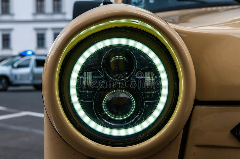 Led headlight on Trabant 601 close up shot. Odorheiu Secuiesc, Romania- 07 July 2018: Led headlight on Trabant 601 close up shot stock photos