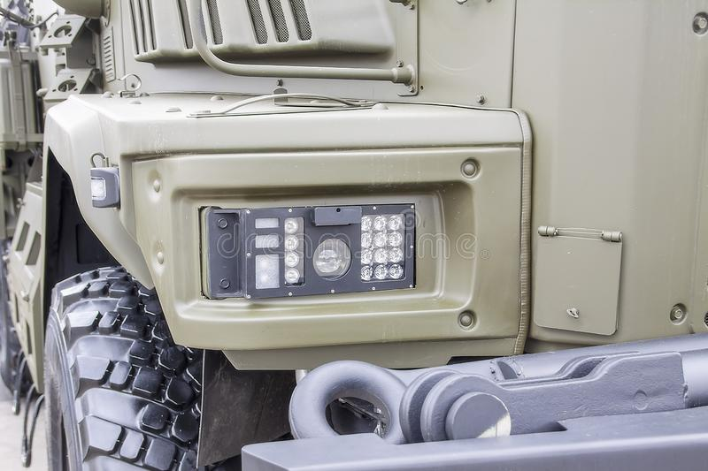 LED headlights of a modern military vehicle royalty free stock image