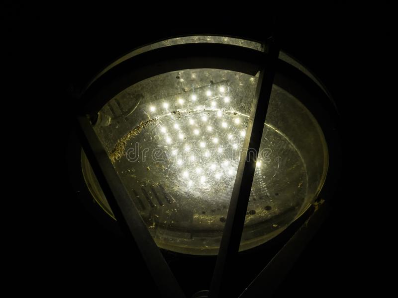 Led lamp in the park, low angle, with dead bugs stock photo