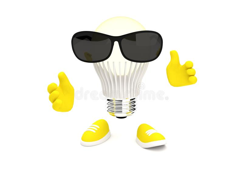 Led lamp with sunglass royalty free illustration