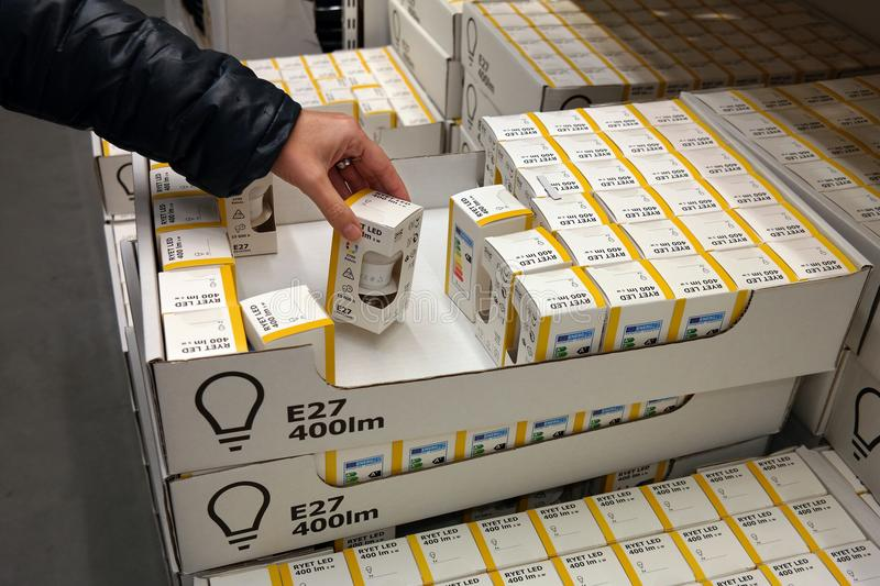 LED lamps in a Ikea store. NETHERLANDS - NOVEMBER 2017: Sale of private label LED light bulbs in store of Ikea, world's largest furniture retailer stock photos