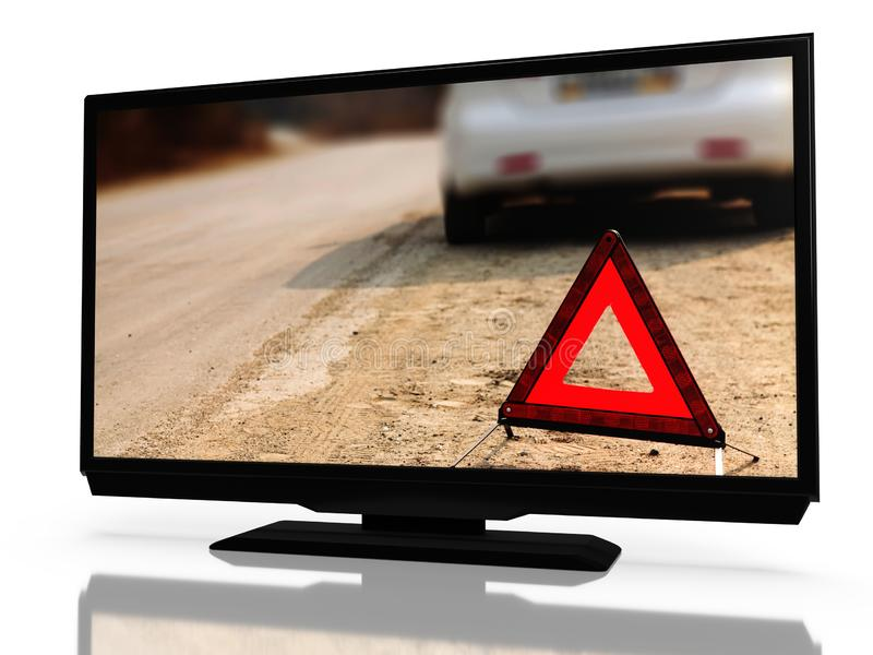 LED LCD tv with a show about car problems on it`s screen, isolated on white background. 3D. Rendering stock illustration