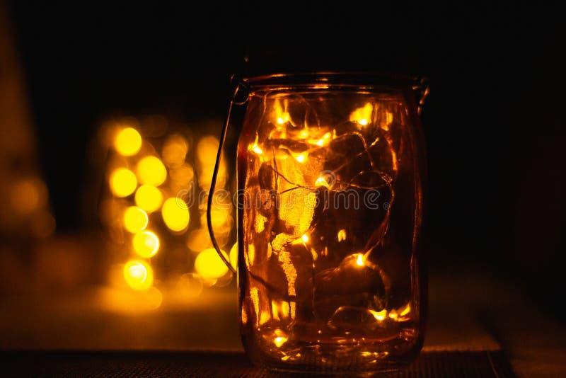 LED-Lichter in einem Weckglas lizenzfreies stockbild