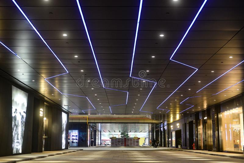Led light belt on modern building ceiling. Led light belt used in modern construction, subway station, airport, railway station, bus station ,shopping mall royalty free stock images