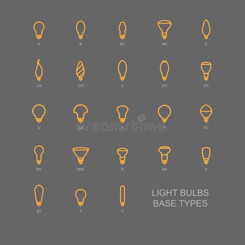LED Light bulb base type icon set royalty free stock photo