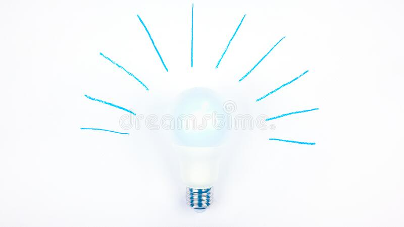 LED light bulb on a white background, the concept idea,plan, enlightenment.  stock image