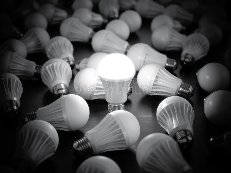 Download LED Light Bulbs With Glowing One Stock Illustration - Illustration of equipment, glow: 105241563