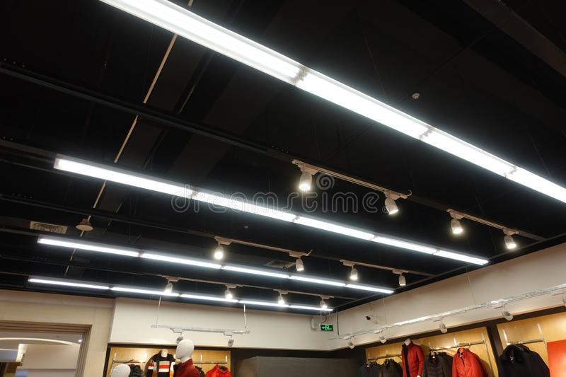 Led light on modern building ceiling. Led light used in modern construction, subway station, airport, railway station, bus station ,shopping mall,office,shopping royalty free stock photo