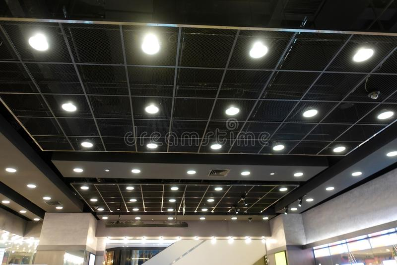 Led light on modern building ceiling. Led light used in modern construction, subway station, airport, railway station, bus station ,shopping mall,office,shopping stock images