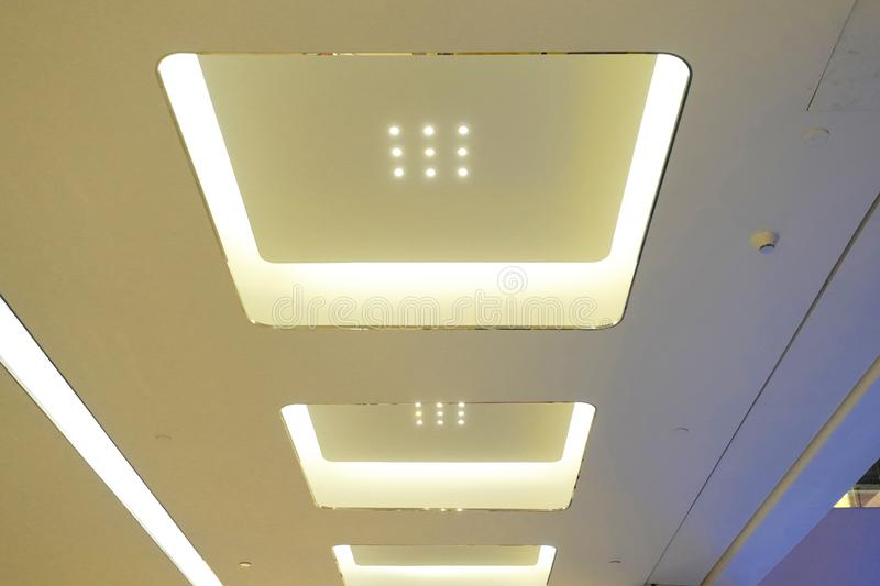 Led light on modern building ceiling. Led light used in modern construction, subway station, airport, railway station, bus station ,shopping mall,office,shopping stock photos