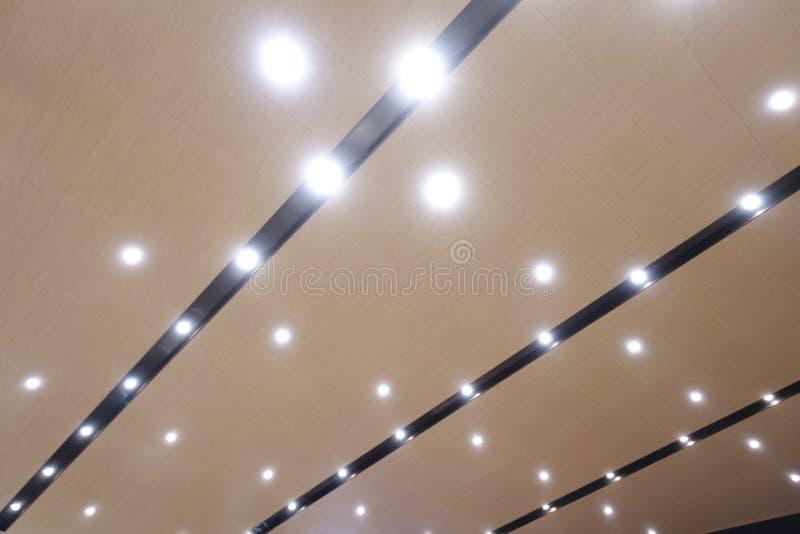 Led light on modern construction ceiling. Led light used in modern construction, subway station, airport, railway station, bus station ,shopping mall,office stock image