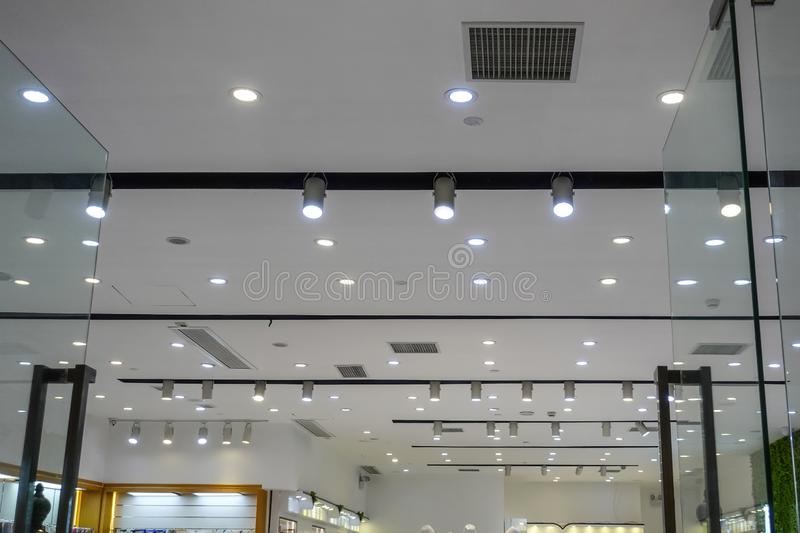 Led light on shopping mall ceiling. Led light used in modern construction, subway station, airport, railway station, bus station ,shopping mall,office,shopping royalty free stock photos