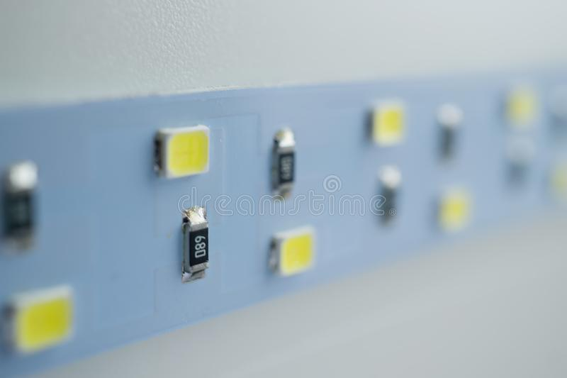 LED light strip close-up. electronic components and equipment stock image