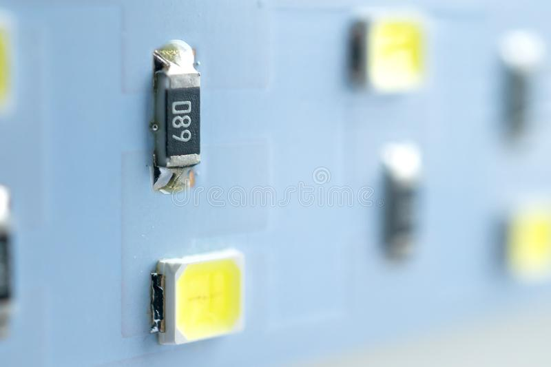 LED light strip close-up. electronic components and equipment stock photo