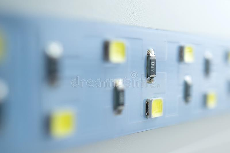 LED light strip close-up. electronic components and equipment stock images