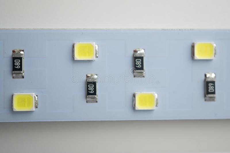 LED light strip close-up. electronic components and equipment royalty free stock photo