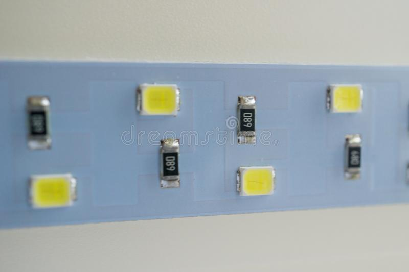 LED light strip close-up. electronic components and equipment stock photography