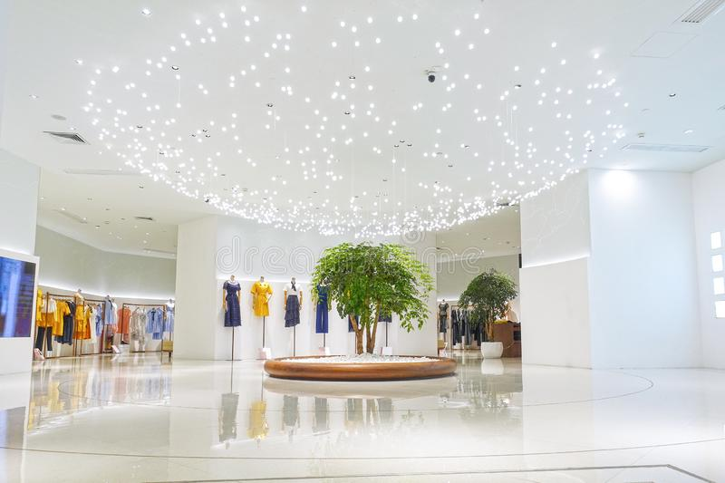 Led light used in lady fashion store exhibition hall royalty free stock photos