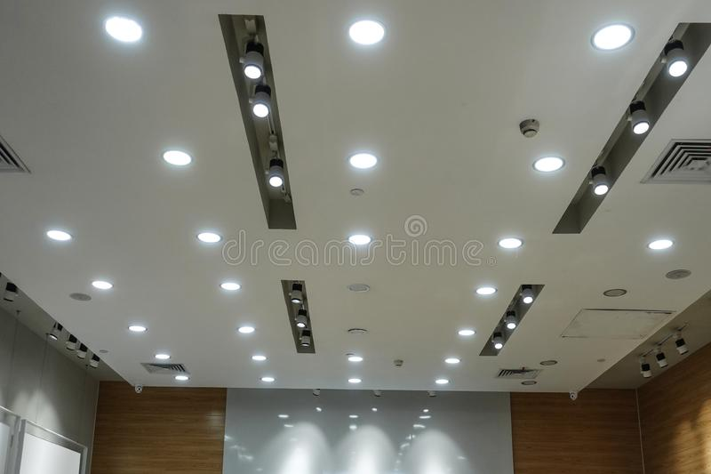 Led light on modern building ceiling. Led light used in modern construction, subway station, airport, railway station, bus station ,shopping mall,office,shopping royalty free stock images