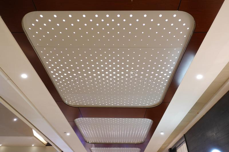 Led light on modern building ceiling. Led light used in modern construction, subway station, airport, railway station, bus station ,shopping mall,office,shopping stock photo