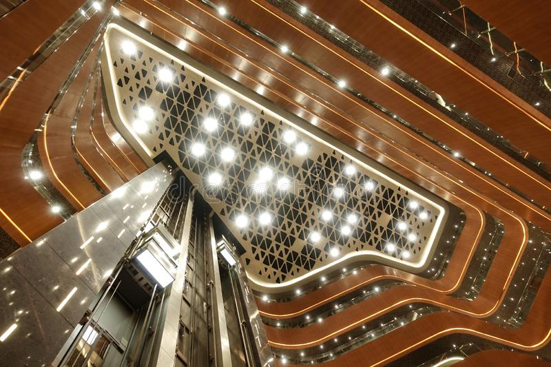 Led light system on modern building ceiling. Led light used in modern construction, subway station, airport, railway station, bus station ,shopping mall,office royalty free stock photos