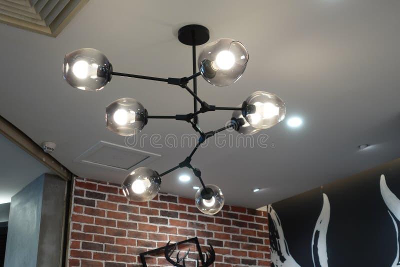 Led lighting chandelier lamp in modern commercial building stock images