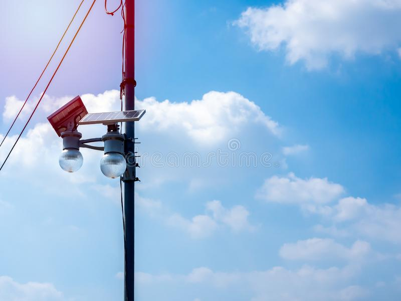 LED lighting and solar panel on pole royalty free stock photography
