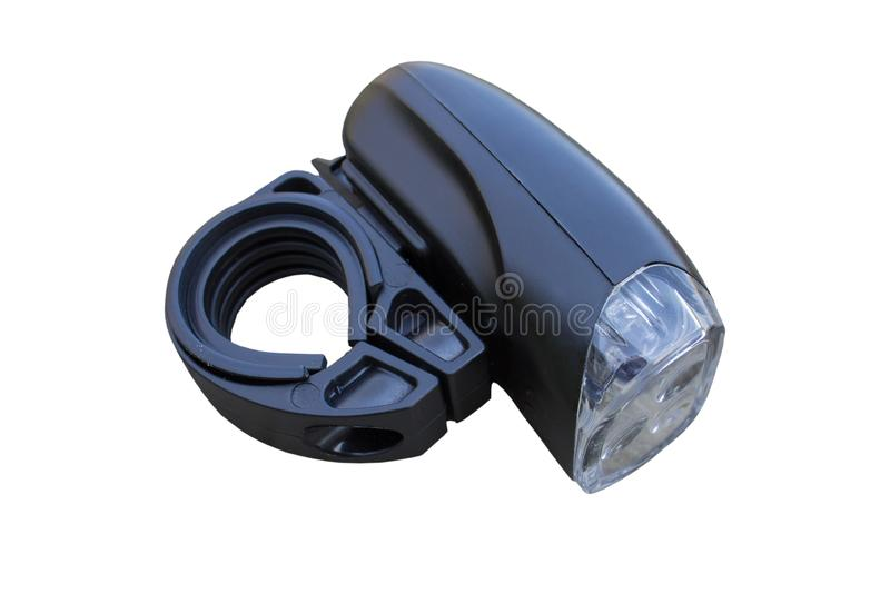 LED lights for bicycles isolated,Front LED lights for bikes are isolated on a white background. Front LED lights for bikes are isolated on a white background royalty free stock photo