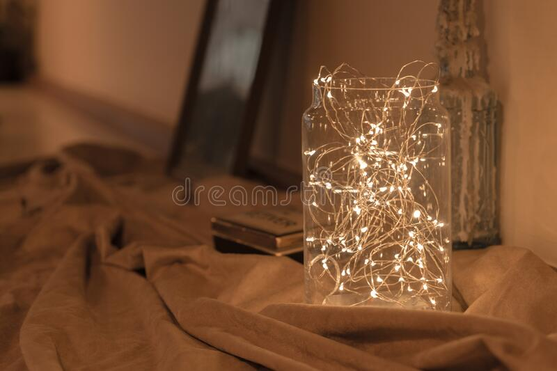 LED lights decorated in the jar. For winter season where it placed on the storage royalty free stock photos