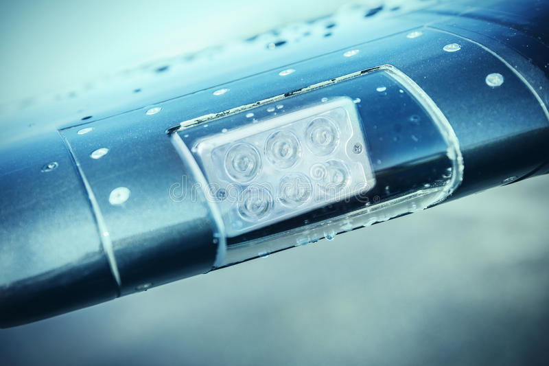 LED lights on the wing of the plane. Safety lights on the plane. LED lights on the wing of the plane. Safety lights on the plane royalty free stock photography