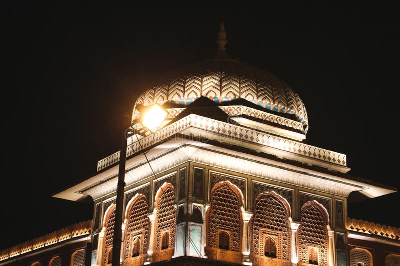 A LED lit dome at the Chandpole bazar at Jaipur, India.  stock photos