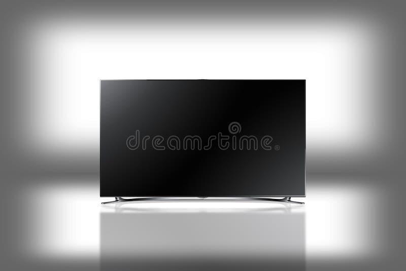 LED moderno HD lleno TV en el fondo blanco con la reflexión foto de archivo