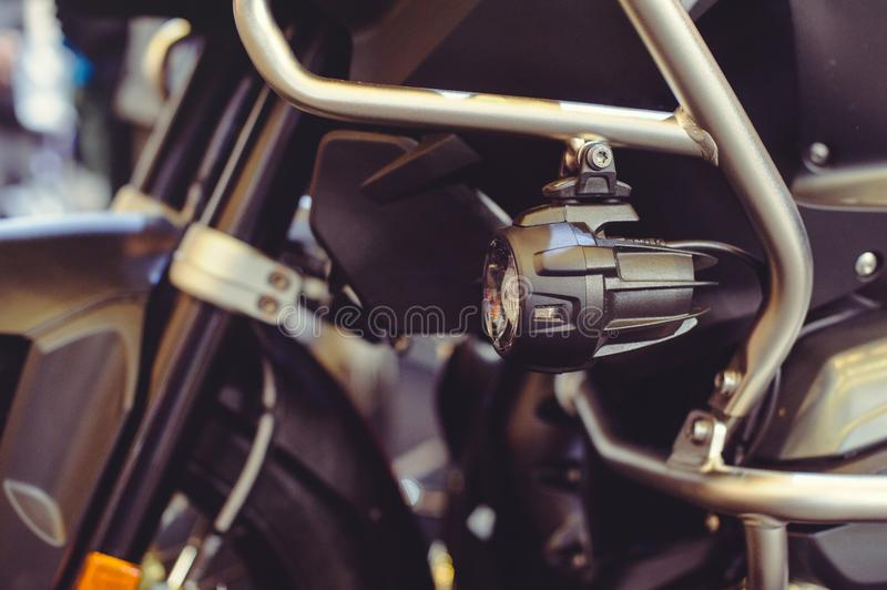 LED motorcycle fog lights, additional lighting, driving safety.  stock photo