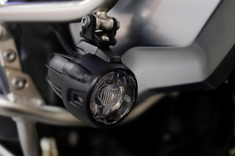 LED motorcycle fog lights, additional lighting, driving safety.  royalty free stock photography