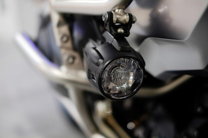 LED motorcycle fog lights, additional lighting, driving safety.  stock photos